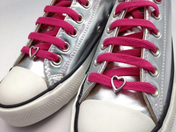 cordones zapatillas corazón plata
