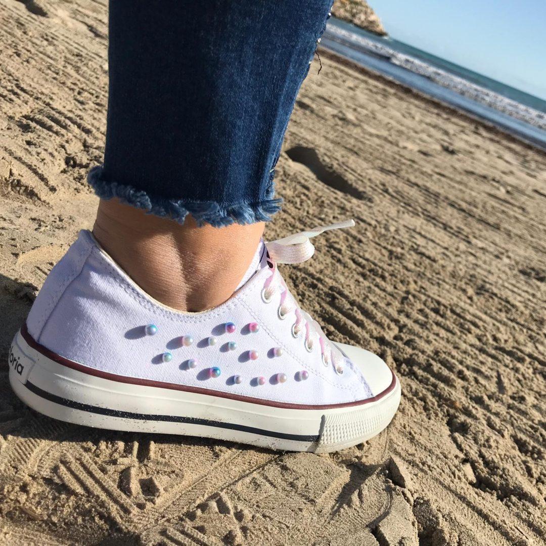 Zapatillas mujer Perlas irisadas